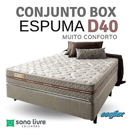Conjunto Box Casal Ecoflex Espuma Ecoline D40 138 x 188 x 25