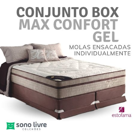 Conjunto Box Queen Molejo Max Confort Gel 158 x 198 x 038