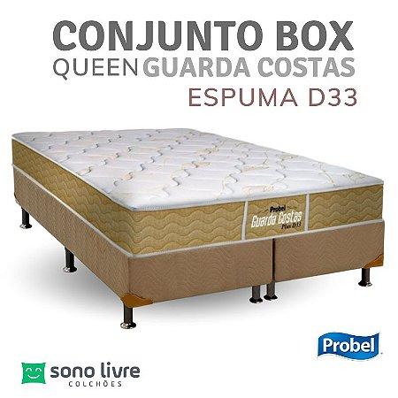 Conjunto Box Queen Espuma D33 Guarda Costas Probel 158 x 198 x 30