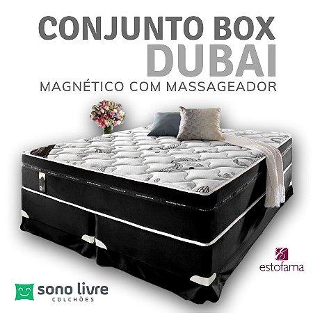 CONJUNTO BOX QUEEN DUBAI COM MASSAGEADOR 158 x 198 x 38