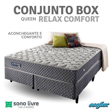 Conjunto Box Queen Relax Comfort Ecoflex 158 x 198