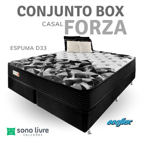 Conjunto Box Casal Espuma Forza Ecoflex  138 x 188