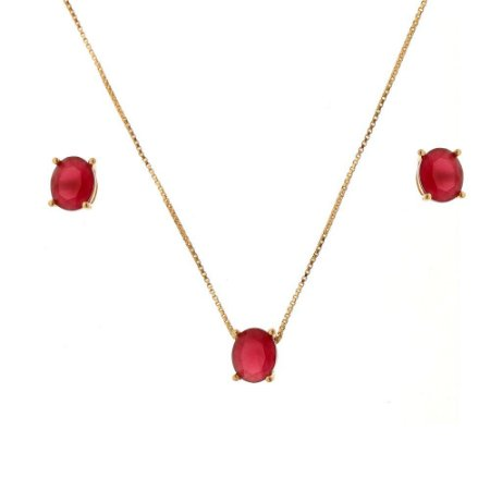 Conjunto Oval Cristal Red