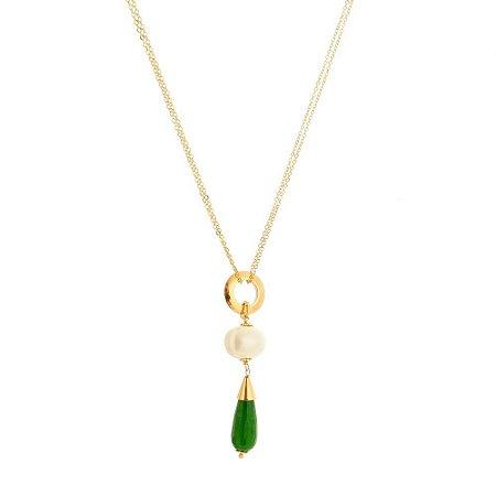 Colar Longo Pingente Detalhes Jade Verde