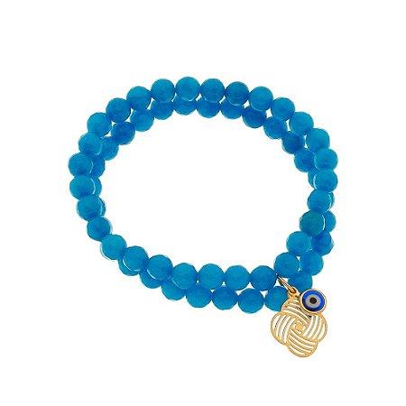 Pulseira Àgata azul com pingente de olho grego.