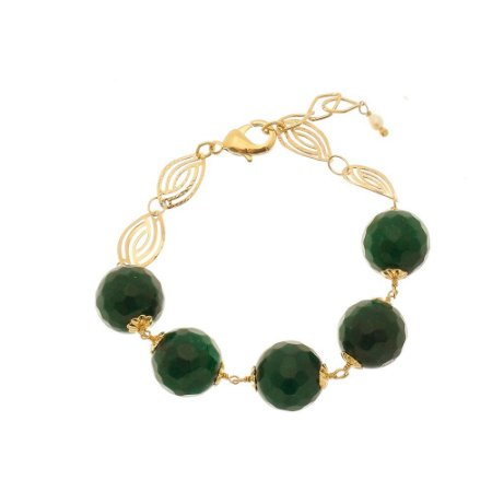 Pulseira pedra natural Jade esmeralda .