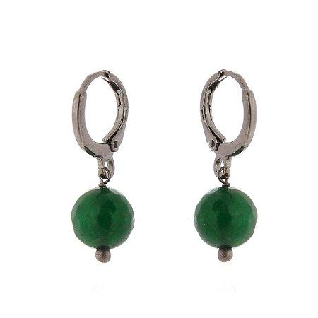 Brinco de pedra natural jade esmeralda