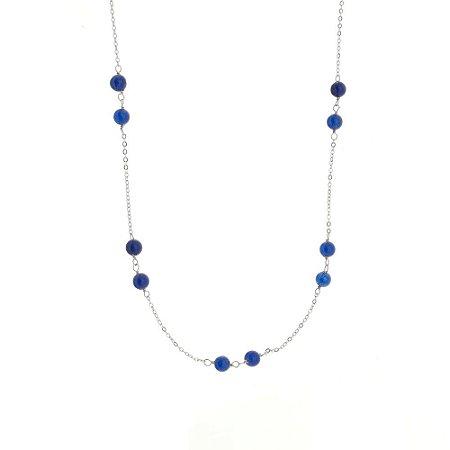 Colar longo com pedras jade azul