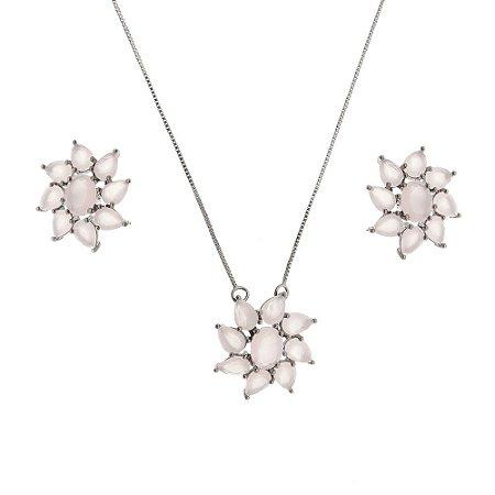 Conjunto flor com zircônia quartzo rosa
