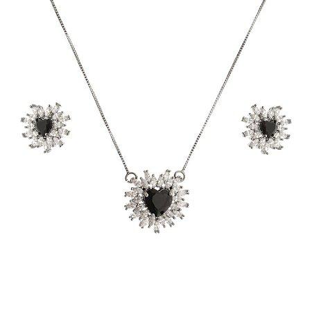 Conjunto de coração com zircônia cristal e onix