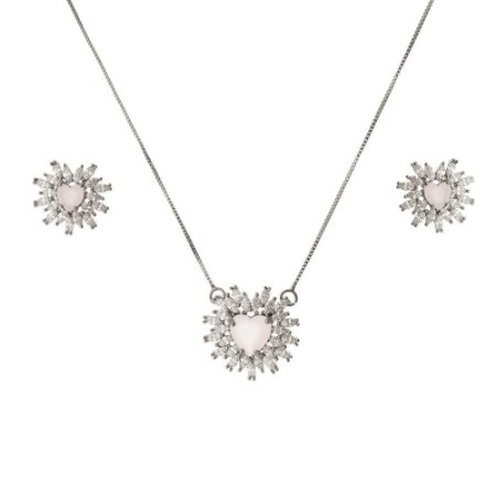 Conjunto de coração com zircônia cristal e quartzo rosa