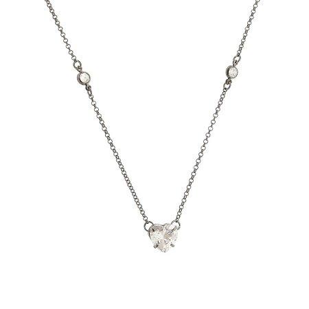 Colar coração de zircônia cristal com corrente tiffany