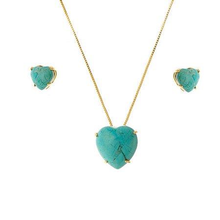 Conjunto de coração com pedra natural turquesa