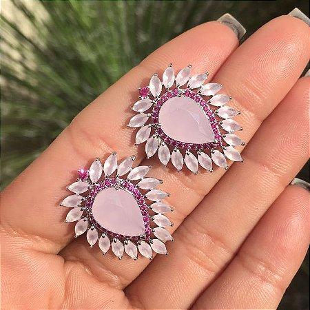 Brinco Gotas de Luxo no Quartzo Rosa