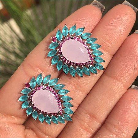 Brinco Gotas de Luxo com Zircônias Candy Colors