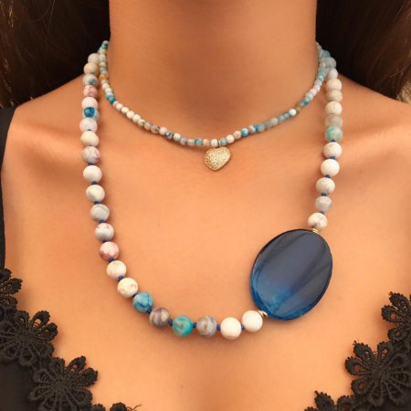 Colar de Pedras Naturais com Ágata Azul