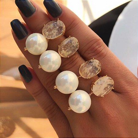Brinco Pedra Natural Citrino com Pérola Shell