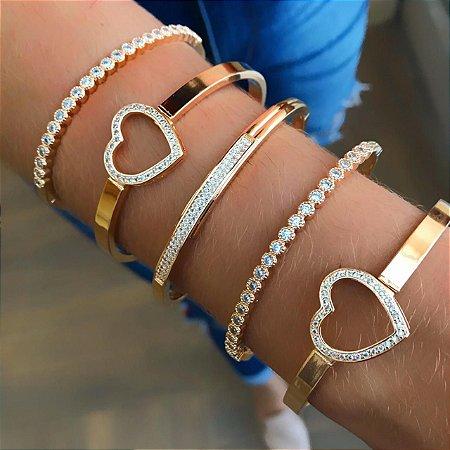Bracelete Coração Cravejado