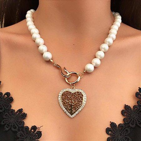 Colar Coração Delicado com Pérolas Shell