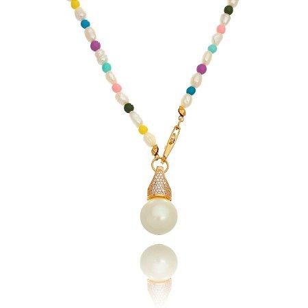 Colar Colors com Pingente Pérola Shell