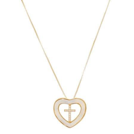 Colar Coração Madrepérola e Cruz Zircônia