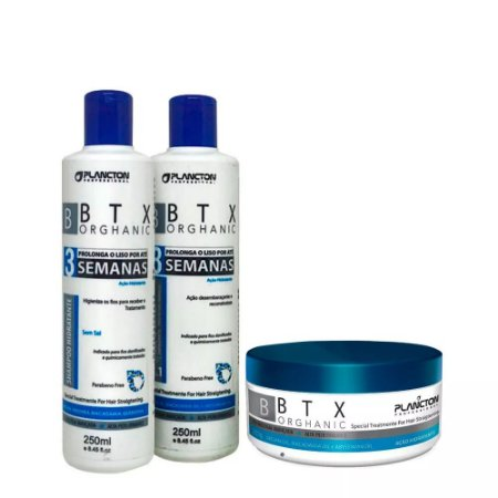 Kit BTX Orghanic Plancton Shampoo, Condicionador e btx 250g