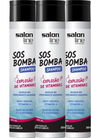 Combo Shampoo Bomba Salon Line 3 Itens (3 x 300ml)