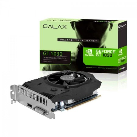 PLACA DE VÍDEO GALAX NVIDIA GEFORCE GT 1030, 2GB, DDR4, 64BIT - 30NPG4HV00AB