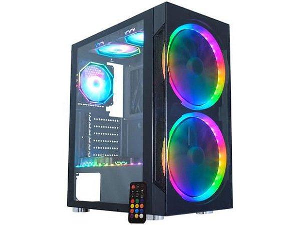 GABINETE GAMER K-MEX ANJO DE COMBATE 3 CG-03A1 - RGB ATX 6 FANS PRETO - CG-03A1