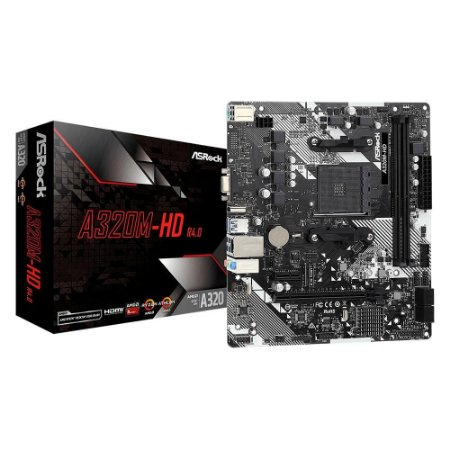 PLACA MÃE ASROCK A320M-HD R4, AMD AM4, MICRO ATX, DDR4 - A320M-HD-R4