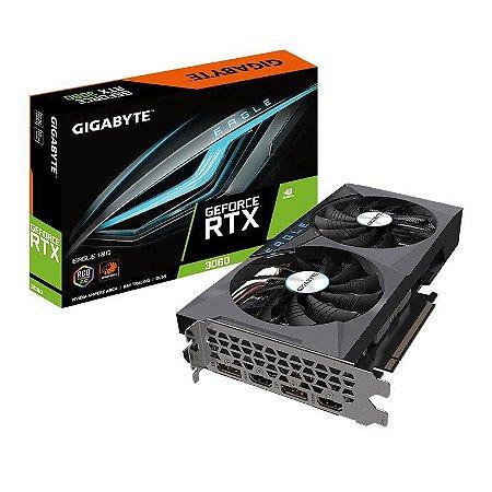 PLACA DE VIDEO GIGABYTE GEFORCE RTX 3060 EAGLE 12GB GDDR6 192-BIT, LHR REV2.0 - GV-N3060EAGLE-12GD