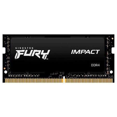 MEMÓRIA KINGSTON FURY IMPACT, 16GB, 2666MHZ, DDR4, CL15, PARA NOTEBOOK - KF426S15IB1/16