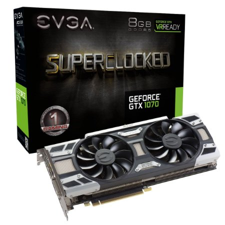 PLACA DE VÍDEO GTX 1070 8GB DDR5 256BITS EVGA ACX3 SUPERCLOCKED