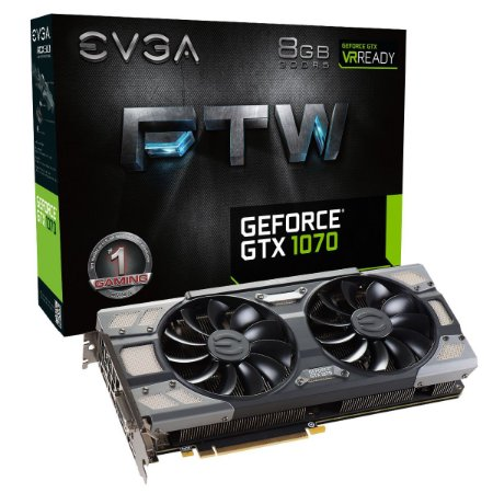 PLACA DE VÍDEO GTX 1070 8GB DDR5 256BITS EVGA FTW GAMING