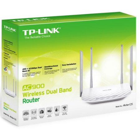 ROTEADOR WIRELESS TP-LINK ARCHER C25 AC900 DUAL BAND
