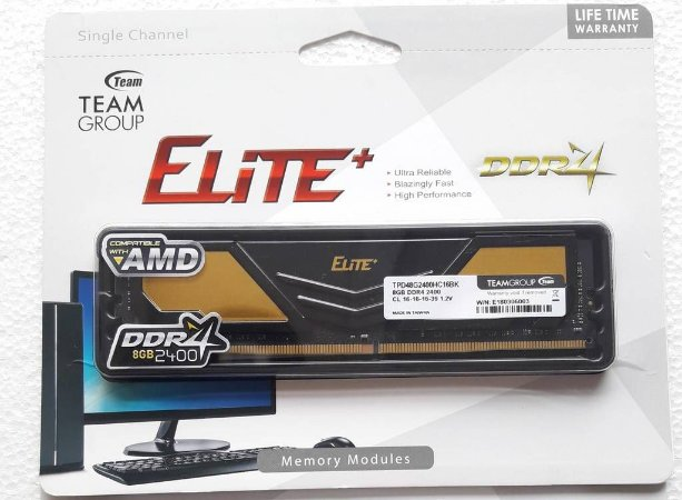 MEMÓRIA 8GB DDR4 2400MHZ TEAM GROUP ELITE