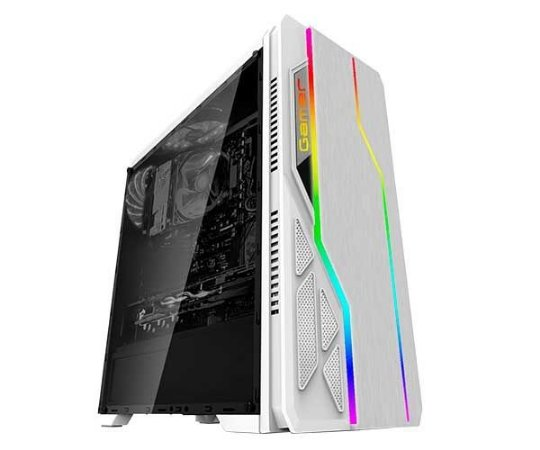 GABINETE GAMER BLUECASE BRANCO LED RGB