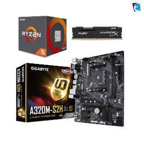 KIT UPGRADE A320M-S2H + PROCESSADOR RYZEN 5 2600 + 8GB DDR4 2666mhz