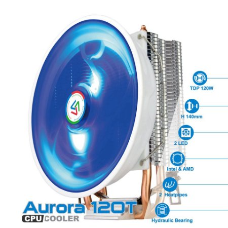 COOLER PARA PROCESSADOR ALSEYE AURORA 120T LED AZUL