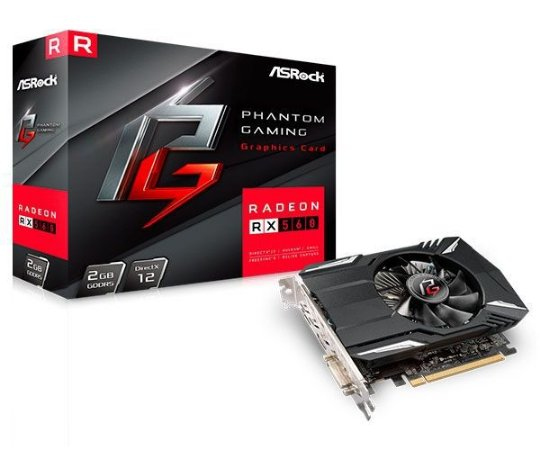 PLACA DE VIDEO ASROCK PHANTOM GAMING RADEON RX 560 2GB GDDR5 128-BIT
