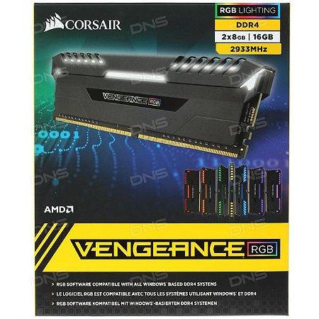 MEMÓRIA CORSAIR VENGEANCE RGB 16GB (2x8GB) DDR4 2933 MHz Amd AM4 - CMR16GX4M2Z2933C16