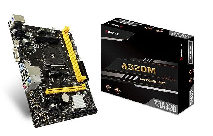 PLACA MÃE A320MH 6.x BIOSTAR AMD AM4 MICRO ATX - AA32EM4S