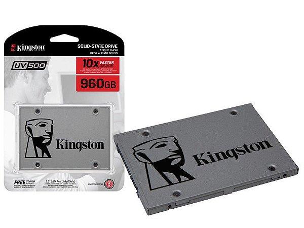 SSD Kingston 960GB  2.5´ UV500 SATA III Leituras: 520MB/s e Gravações: 500MB/s - SUV500/960G