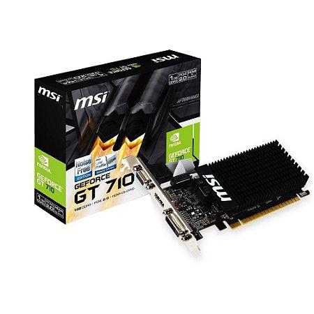 Placa de Vídeo GeForce GT 710 MSI NVIDIA 1GB DDR3, LOW PROFILE -  1GD3H LP