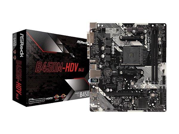 PLACA MÃE B450M-HDV R4.0 ASROCK, AMD SOCKET AM4