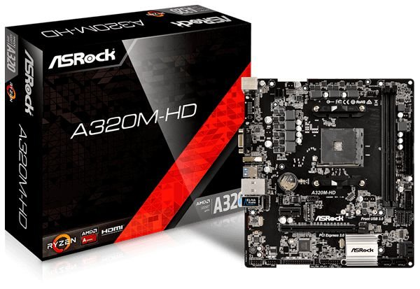 PLACA MÃE ASROCK A320M-HD DDR4 SOCKET AM4 CHIPSET AMD A320 - 90-MXB6P0-A0BAYZ