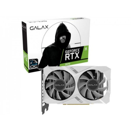 PLACA DE VÍDEO GALAX GEFORCE RTX 2070 WHITE MINI 1 CLICK OC 8GB GDDR6, 27NSL6HPZ7MN