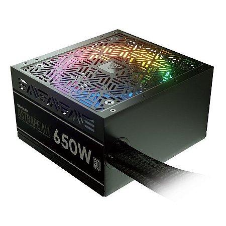FONTE GAMDIAS ASTRAPE M1-650W RGB, 80 PLUS WHITE, PFC ATIVO, AD-Z650ZZZ