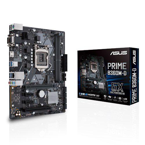 PLACA MÃE ASUS PRIME B360M-D, INTEL LGA 1151, DDR4, 90MB0XP0-M0EAY0