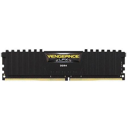 MEMÓRIA CORSAIR VENGEANCE LPX 8GB 2666 MHz, DDR4, C16, PRETO - CMK8GX4M1A2666C16